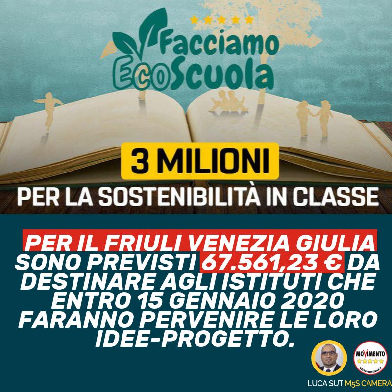 """3 MILIONI DI EURO PER PROGETTI DI """"ECOSCUOLA"""" - m5stelle.com - notizie m5s"""