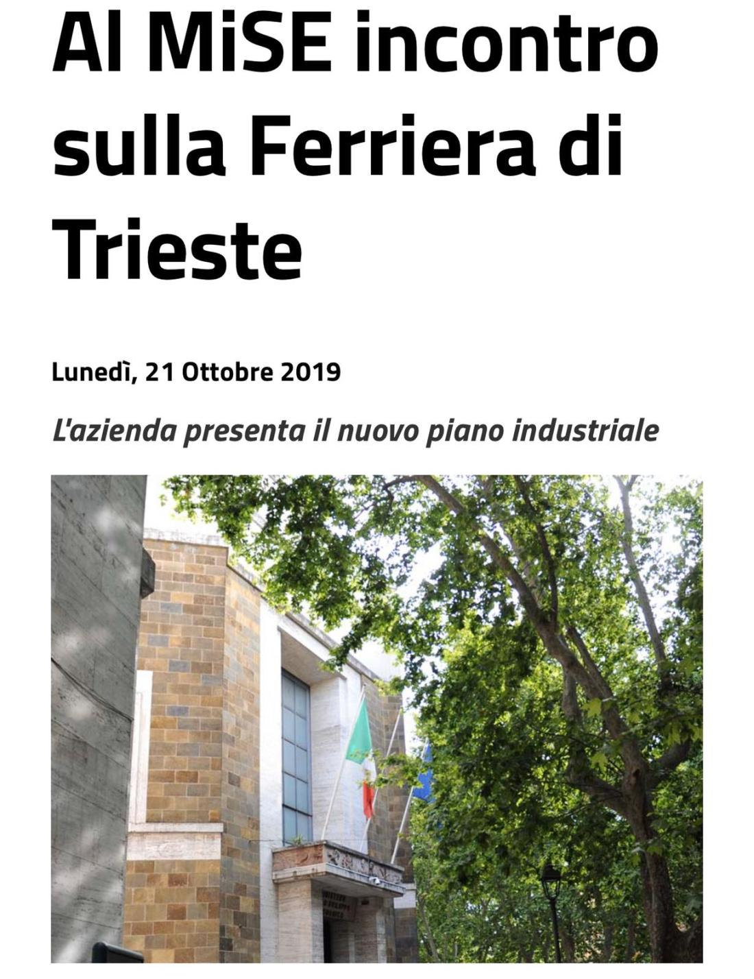 ?FERRIERA DI SERVOLA (TRIESTE), I RISULTATI DELL'INCONTRO AL MISE - m5stelle.com - notizie m5s