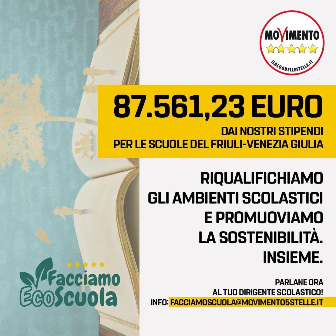"""facciamo ecoscuola - ?""""FACCIAMO ECOSCUOLA"""" IN FVG: OLTRE 87 MILA EURO DAGLI ELETTI DEL M5S"""