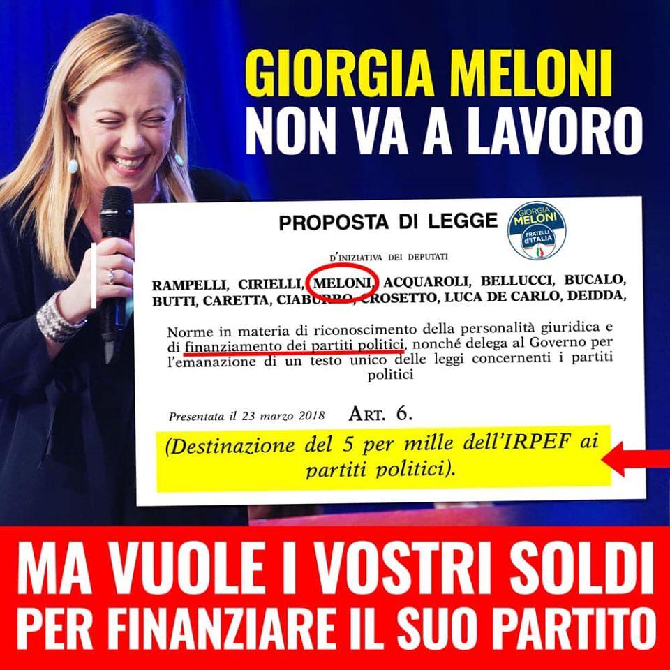 GIORGIA MELONI NON VA A LAVORO, MA… - m5stelle.com - notizie m5s