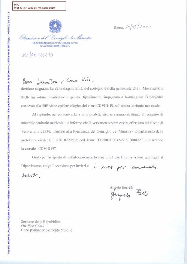lettera Borrelli